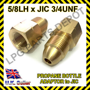 LPG Propane Bottle filling adaptor connector gas PIG tail 5/8 LH to JIC 3/4UNF
