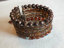 "Collectible Cuff Wrap Bracelet AB Brown Beads 1 1/4"" Wide Dangles NICE"