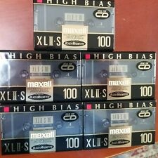5 New Maxell XLII-S 100 High Bias Type II  Cassette Tapes Blank *Sealed*