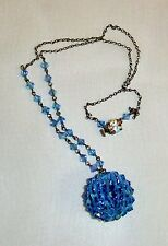 1337~Stunning Vintage Silvertone Chain Blue Crystal Disco Ball Necklace RS Clasp