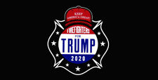 "Firefighters For Trump 2020 Black Vinyl Decal Bumper Sticker (3.75""x7.5"")"