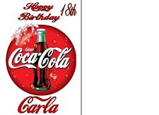 COCA COLA  A5 PERSONALISED BIRTHDAY CARD ANY NAME ANY AGE