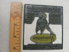 "Vintage Letterpress Printers Plate ""HITTENBERGERS PAIN RELIEVING HOSIERY"""