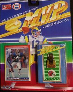 1990 Ace Novelty NFL Football MVP Pin Buffalo Bills Cornelius Bennett MOC NIP