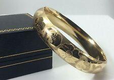 """14k Yellow Gold Vintage Etched 1/2"""" Wide Hinged Bangle Bracelet~ 21.2gr."""