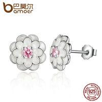 Bamoer Shine S925 Sterling Silver Stud Earrings Flower Enamel For Women Jewelry