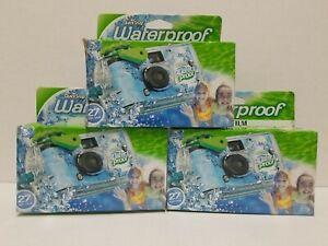 LOT OF 3 Fujifilm Quicksnap Waterproof Cameras 27 Exposure 35 FT Depth EXP 1/21