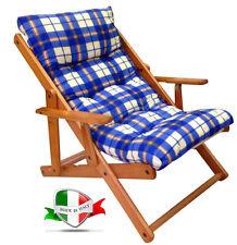 Sedia poltrona sdraio in legno con imbottitura blu regoIabile in 3 posizioni