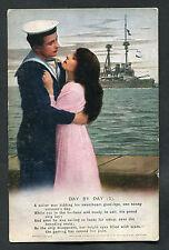 C1915 WWI Bamforth Song Card: Day by Day (1): Sailor, Girlfriend & Battleship