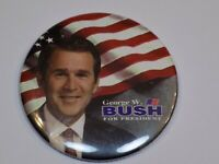 George W Bush for President Pin Vintage Old Metal Button Round Pinback TigerEye
