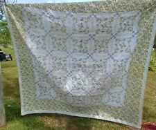 Vintage Quilted Yellow Blue Plaid Floral Comforter Cutter 84 x 86