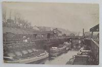 Rare Honesdale PA Pennsylvania Gravity Railroad Docks boats RPPC Photo Postcard