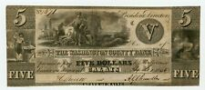 1836 $5 The Washington County Bank - Calais, MAINE Note