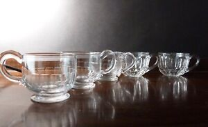 5 Antique Victorian Panel Cut Jelly Glasses h5,5cm, Mixed Lot 3+2