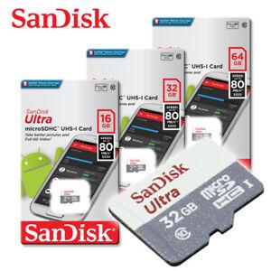 SanDisk Ultra New 16GB 32GB 64GB microSDHC microSDXC Flash Memory Card C10 U1