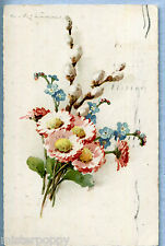 Signed C. KLEIN PC Flowers  Viaggiata 1940 made in Italy 2