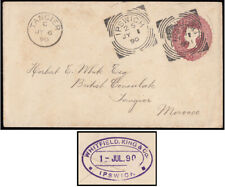 1890 2½d. Claret Stationery envelope, Ipswich to Morocco. Nice squared circle...
