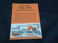 1950's Fram Oil Filter Ad Vacation Land American South West
