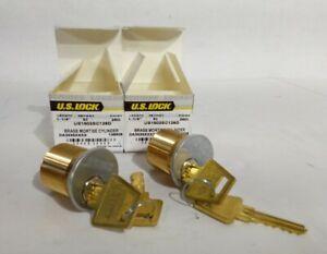 """1pr U.S. Lock 1-¼"""" Brass Mortise Cylinder Matched Keys US1502SC126D"""