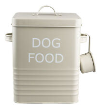 VINTAGE STYLE DOG FOOD TIN STORAGE BOX IN OLIVE FOR DRY FOOD, POUCHES,TREATS ETC