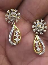 Pave 1.01 Cts Natural Diamonds Stud Earrings In Solid Certified 14K Yellow Gold