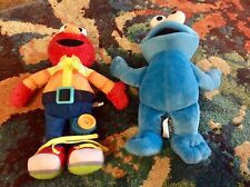 "SESAME STREET PLUSH Lot of 2 COOKIE MONSTER Elmo Ready To Dress 15"" VERY GOOD"