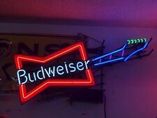 Rare BUDWEISER BOWTIE Electric GUITAR NEON SIGN Vintage 5 COLORS Bar Lighting
