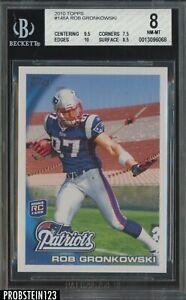 2010 Topps #148 Rob Gronkowski New England Patriots RC Rookie BGS 8 w/ 10