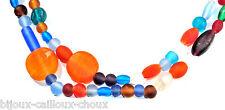 Collier sautoir vintage pâte de verre multicolore bijou necklace