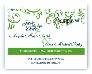 100 Personalized Custom Green Flourish Butterfly Wedding Save The Date Cards