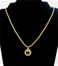LOVELY VINTAGE ROUND SNAKE CHAIN NECKLACE WITH PENDANT IN YELLOW GOLD TONE METAL
