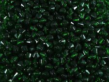 Crystal Glass Bicone Beads Green 8mm. 75pcs Beading Jewellery FREE POSTAGE