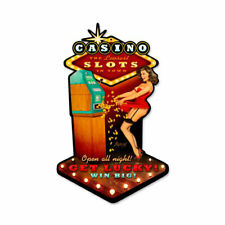 Vintage Style Metal Sign Pinup Girl Casino Pinup 10 x 17