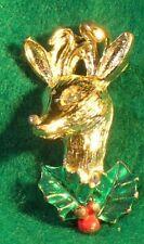 VINTAGE ENAMEL & RHINESTONE CHRISTMAS RUDOLF PIN GOLD TONE FREE SHIPPING