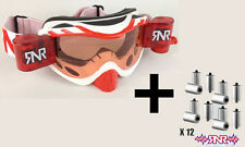 Rip N Roll Hybrid Fully loaded Motocross Race Goggles - White/Red + Roll Film