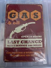 Gas & Oil 24h Tin Retro Metal Sign Painted Poster Wall Art Garage Shop Pub Cafe