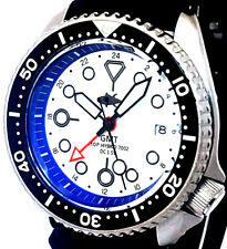 Vintage SEIKO Mens Diver 7002 GMT Mod SWISS Dual-Time Movement w/White TUNA Dial