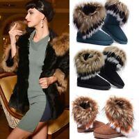 Women's Casual Faux Fur Snow Boots Ankle Shoes Fashion Comfort Winter Warm Flats