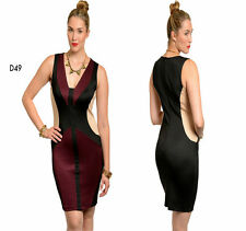 D49 New Ladies Black Red Size 14/16 Colour Block Club Evening Bodycon Dress Plus