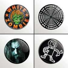"4-Piece White Zombie (Rob Zombie) 1"" Band Pinback Buttons / Pins / Badges Set"
