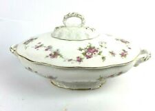 Edwin Knowles Semi Vitreous China Oval Covered Casserole Vegetable Bowl Roses