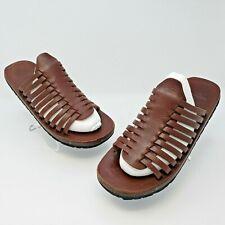 Polo Ralph Lauren Mens Brown Leather Shoes Sandals Slides Size 8.5 D