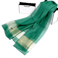 New Fashion Women's 100% Silk Solid Green Large Neck Scarf Wrap Shawl Stole