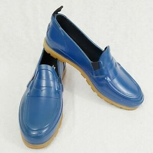 Misty Harbor Womens 9N Blue Rubber Rain Low Cut Slip On Shoes Thermolite Insoles