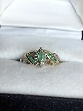 10K Yellow Gold Marquise Emerald Solitaire with Accent Ring, 2.7 Grams, Size 7.2