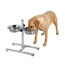 Dog Bowl Stand Raised Twin Adjustable Large Double Bowl Food Stainless Steel