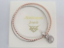 ARABESQUES DOUBLE TREE OF LIFE CHARM BANGLE/GENUINE SWAROVSKI SILVER & ROSE GOLD
