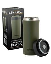 KOMBAT UK GREEN AMMO POUCH FLASK STAINLESS STEEL BUSHCRAFT SURVIVAL EDC MILITARY