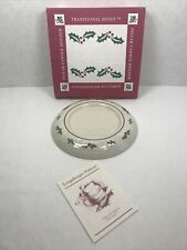 Longaberger Pottery Pillar Candle Holder 38032 Traditional Holly