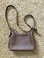 Vintage Coach Zip Leather Crossbody Bag Handbag Purse Dark Brown